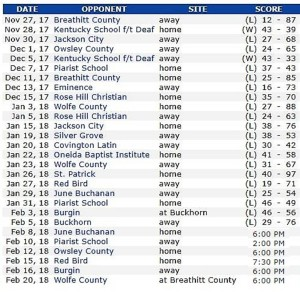 Boys Basketball Schedule 2017-2018